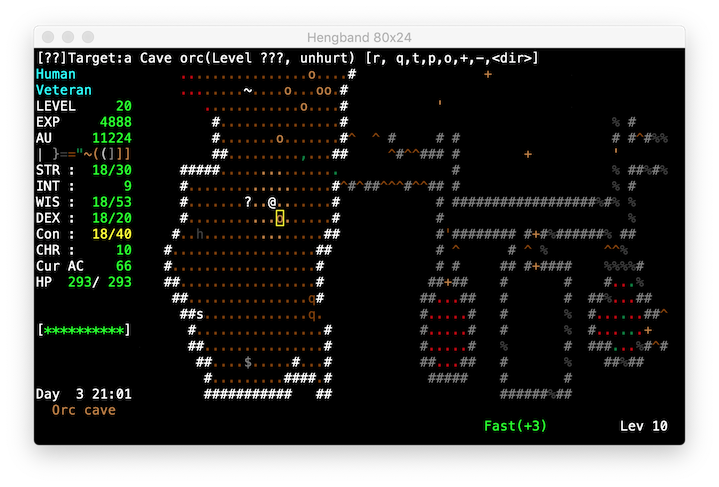 A screenshot of the English version of Hengband for Mac OS X:  our hero's luck is beginning to turn